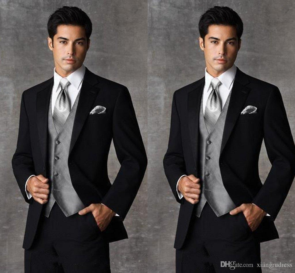 High Quality Two Buttons Black Wedding Tuxedos Groom Tuxedos Notch ...