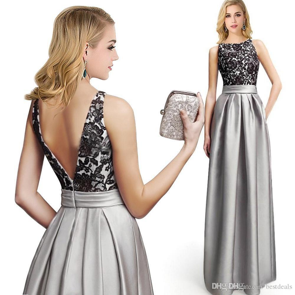 2016 New Silver Lace Satin Evening Dresses Sexy Appliques Backless Sleeveless A-Line Robe De Soiree Prom Gowns Arabic Party Dresses Vestido