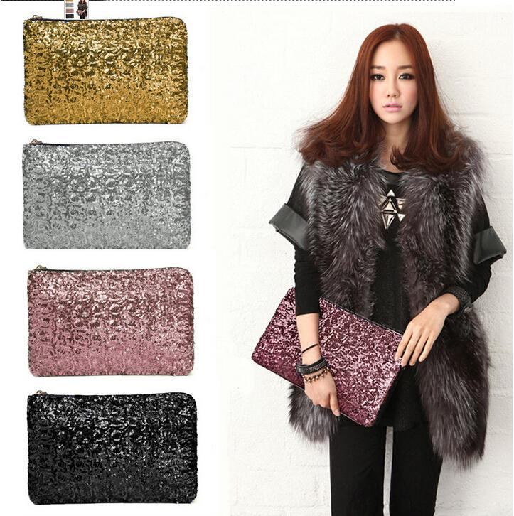 2015 New Dazzling Glitter Women's Evening Bags Hot Sparkling Bling Sequins Evening Party Purse Bag Handbag Women Clutch Wallet MYF52