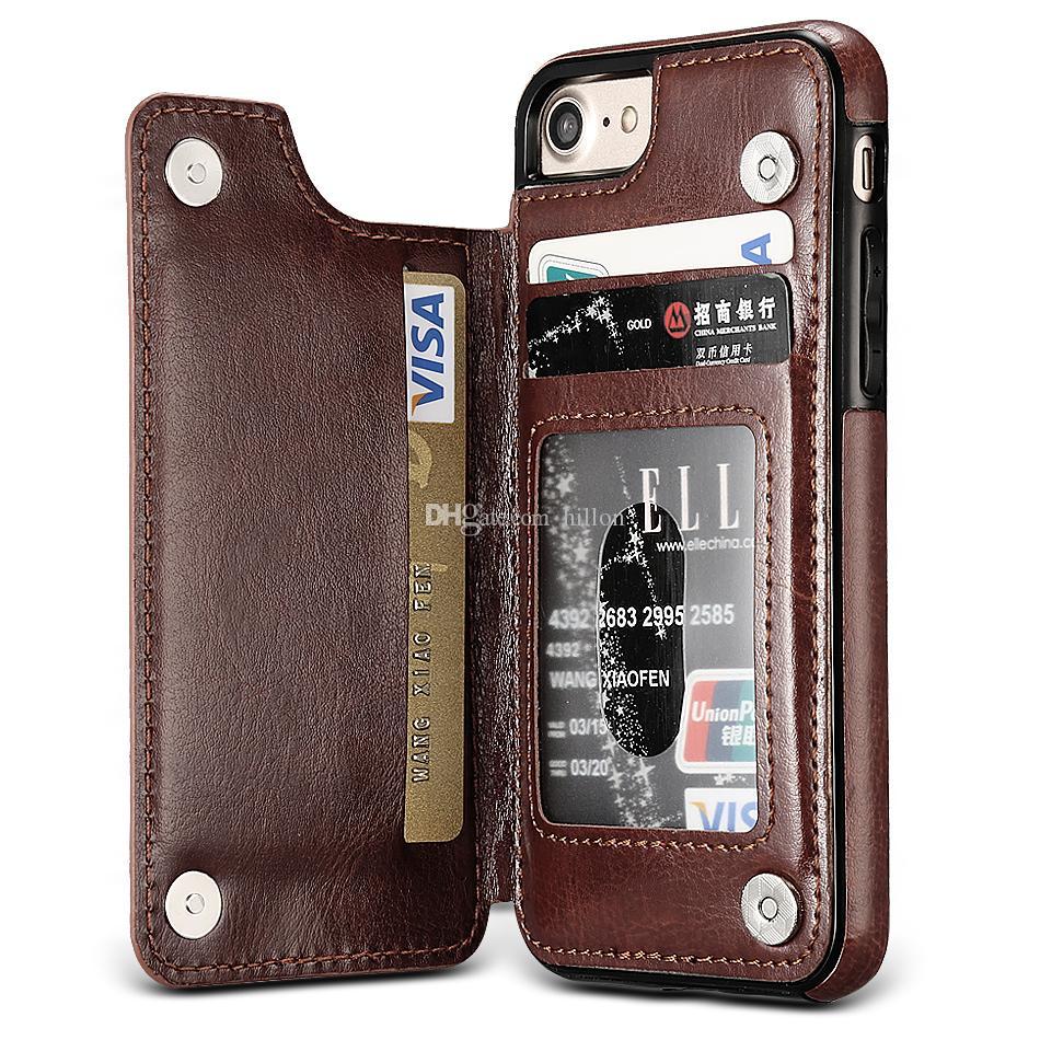 PU Leder rückseitige Abdeckung Mappenkasten für neues iPhone XS Max XR Samsung Anmerkung 9 S9 S10 Plus S10E Anmerkung 9 iPhone X 8 7 Plus OPP Paket