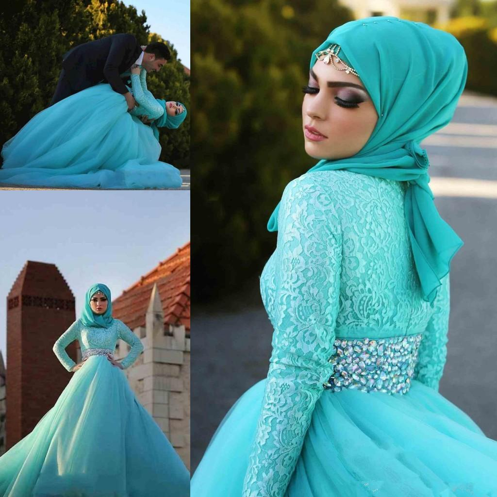 Discount Charming Turquoise Hooded Muslim Wedding Dresses 2015 High ...