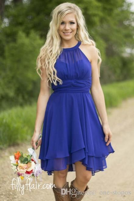 Kurzer Chiffon County Brautjungfer Kleider Halfter Rüschen Strand Hochzeit Gastkleid Knielange Royal Blue Party Prom Kleid CPS575