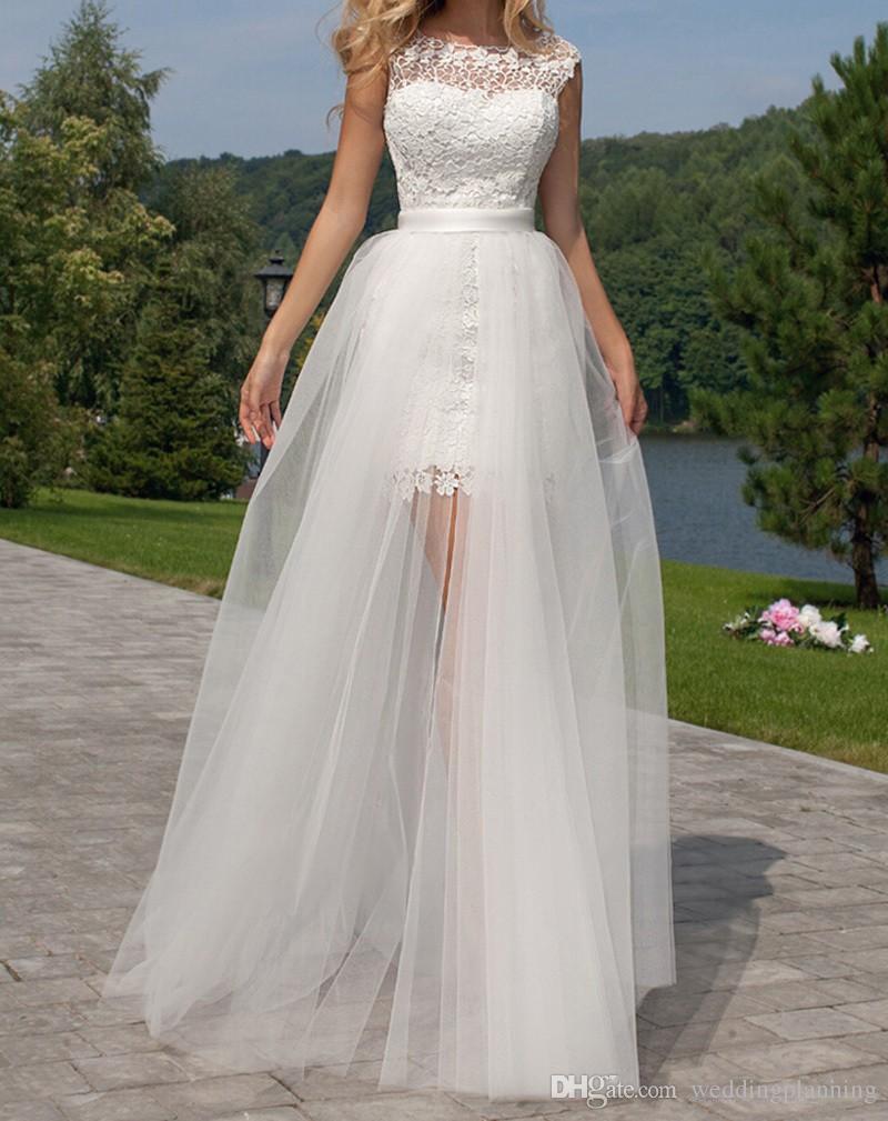 Korte schede trouwjurken foto kant backless met afneembare trein knie beennth strand bruids bruidsjurken kantenlaag flexibele rok