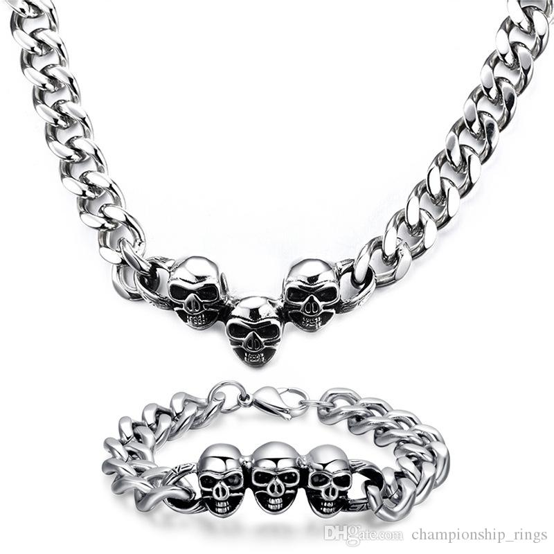 200.6g / pair 13mm Domineering Skull head necklace bracelet set Top precision steel Birthday present bracelet jewelry Punk jewelry