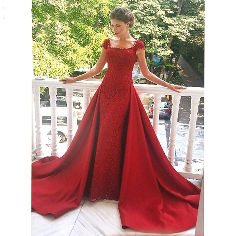 Lace Formal Red Evening Dresses Square Cap Sleeve Beaded Back Zipper Court Train Elegant Prom Party Gowns For Wedding Guest