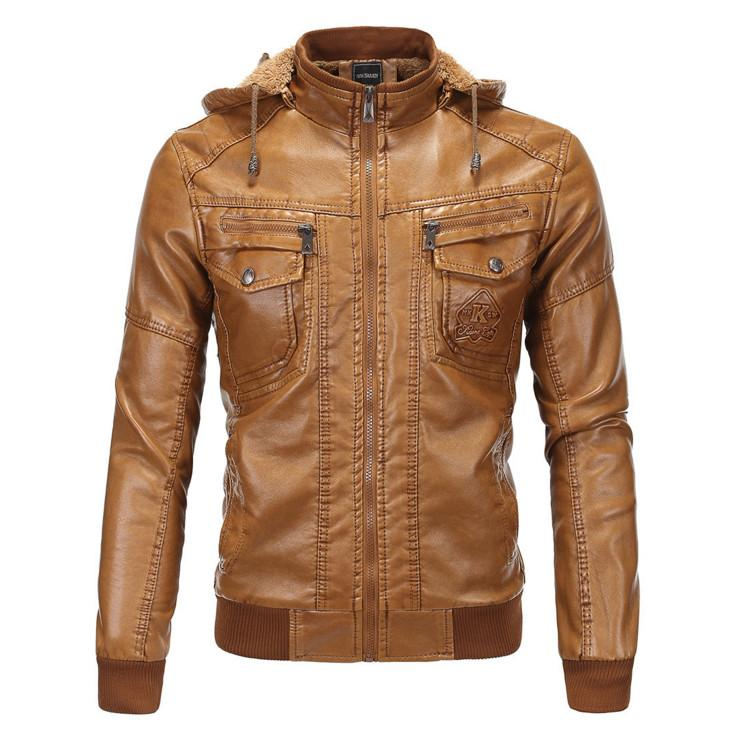 2a732c6c2 Wholesale- 2017 Brand Men hooded leather jackets and coats Autumn thick  Bomber Jacket Big Size 5XL Warmth jacke Faux Leather Fur Coat Suede