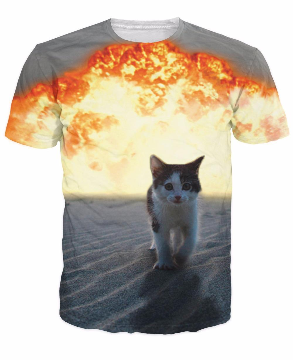 W1223 Cartoon Cute Cat Explosion T Shirts Harajuku Kitten Walking
