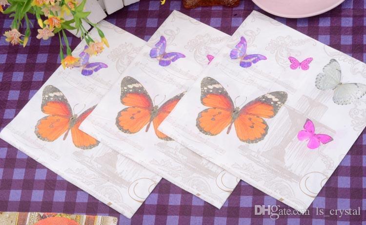Décoratif Papillon Papier Serviette Napperons Fête De Noël 2 Couches Jetable MINI Serviette Mouchoir Pour Vente SD914