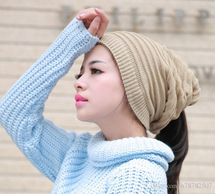 wholesale High Quality Woolen Knitted Hat Korean Unisex Knitted Caps Beanies Winter Warm Hat Both uses multifunction scarves hats