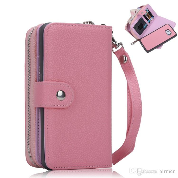 zipper zip pu flip leather wallet case cover card slot photo frame