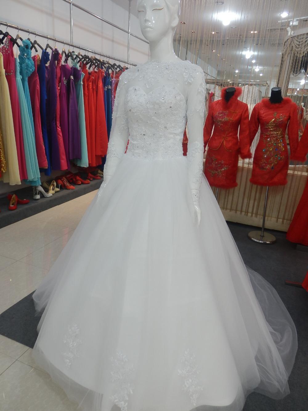 Gerçek Fotoğraf Uzun Kollu Gelinlik Jewel Boyun Boncuklu Beyaz Dantel Tül A-Line Gelin Törenlerinde Lace up Geri Custom Made W952