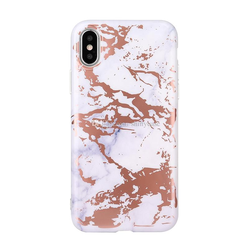 Shiny Plated Stone Cover Laser TPU Marbling Texture Phone Shell Rose Gold Chrome Marble Case for iPhone X 6 6S 7 8 Plus