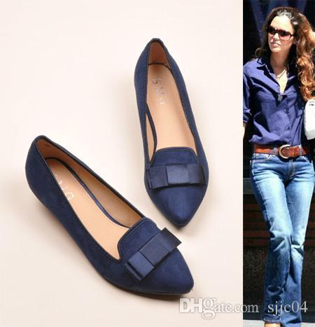 New 2015 Women Pointed Toe Sweet Bow Comfortable Low Heels Pumps ...