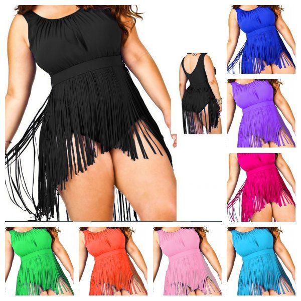 0aa313d7e2f4 2019 Newest Women Fringe Plus Size Swimwear One Piece Monokini With Straps Tassels  Bikini High Waist Swimsuit Sexy Bathing Suit Padded Boho SW208 From ...