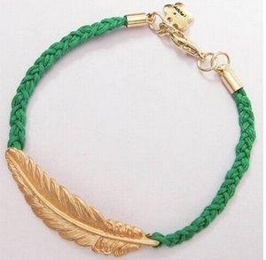 Pulsera de cuerda tejida hecha a mano retro con oro plateado pluma encanto de moda pulseras brazalete mejores pulseras de regalo de navidad W878