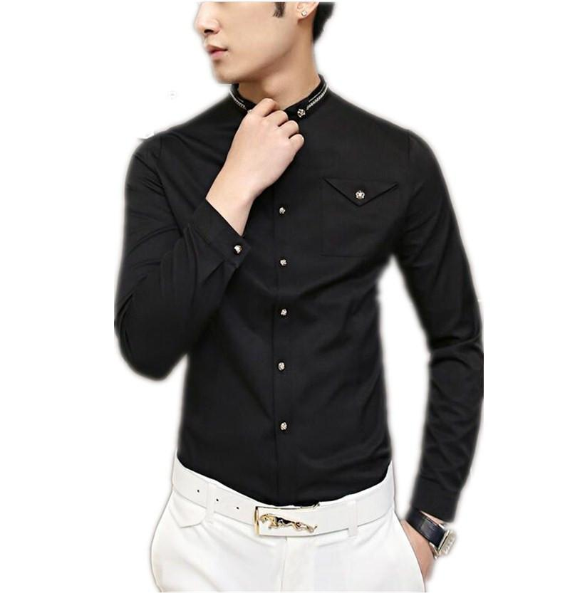 Black long sleeve dress for men