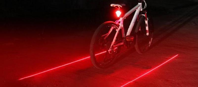 accessori bici Bicicletta led Ciclismo Laser led fanale posteriore bici 2 Laser + 5 LED, luce LED Bicicletta sicurezza bici luce bici