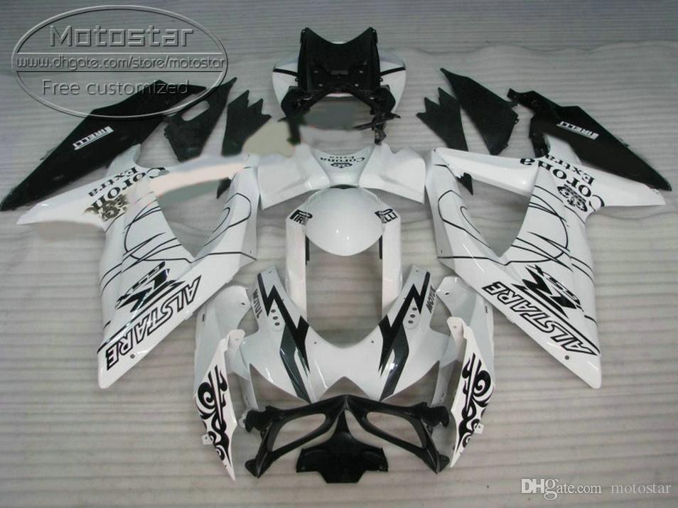 Frete grátis carenagens set para SUZUKI GSXR750 GSXR600 2008-2010 K8 K9 preto branco Corona kit carenagem de plástico GSXR600 / 750 08 09 10 R51P