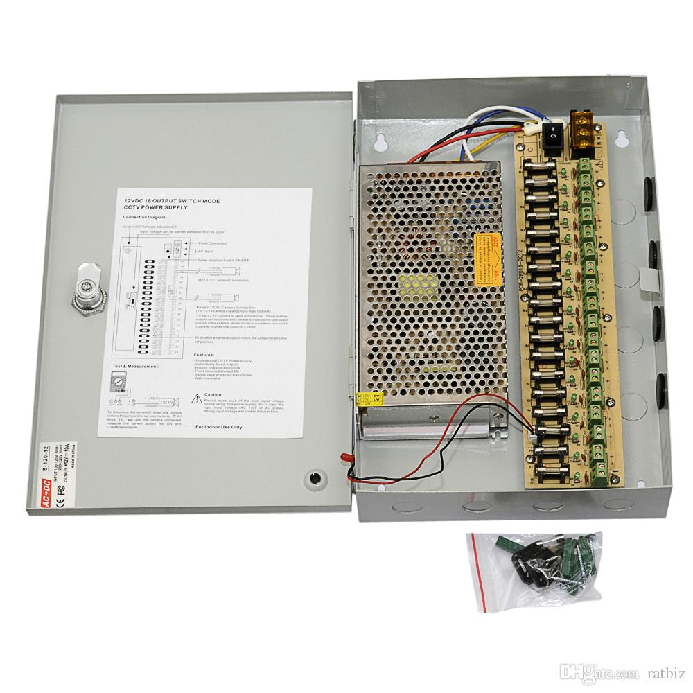 18 channels DC12V 10A CCTV Cameras Power Box Security Video Cameras wall-hang Box switching Power supply 18CH Port 10A
