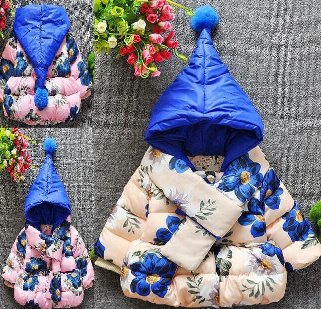 New Winter Garden Flowers Thick Cotton Baby Girls Cotton Jacket Flower  Jacket To Send Scarves In Children Girls Wool Coats Children S Winter Coats  From ...
