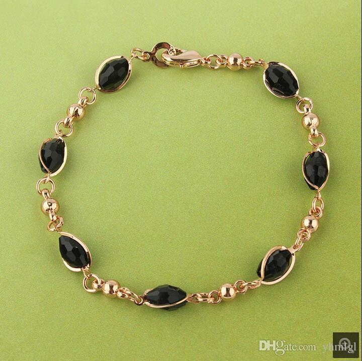 Мода женщин 18k золото заполненные черный австрийский Кристалл ожерелье браслет серьги свадьба/невеста ювелирные наборы подарок
