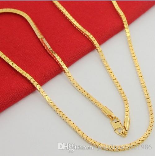 سريع شحن مجاني مجوهرات الزفاف الجميلة الرجال الذهب معبأ قلادة الراقية الأزياء أبدا تتلاشى الذهب معبأ قلادة