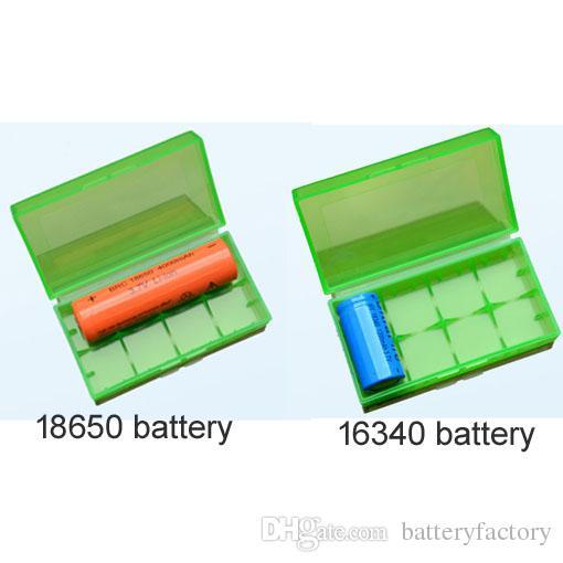 Caja de almacenamiento portátil Caja de batería 18650 Caja de acrílico Caja de seguridad plástica colorida para batería 18650 y Batería 16340 es
