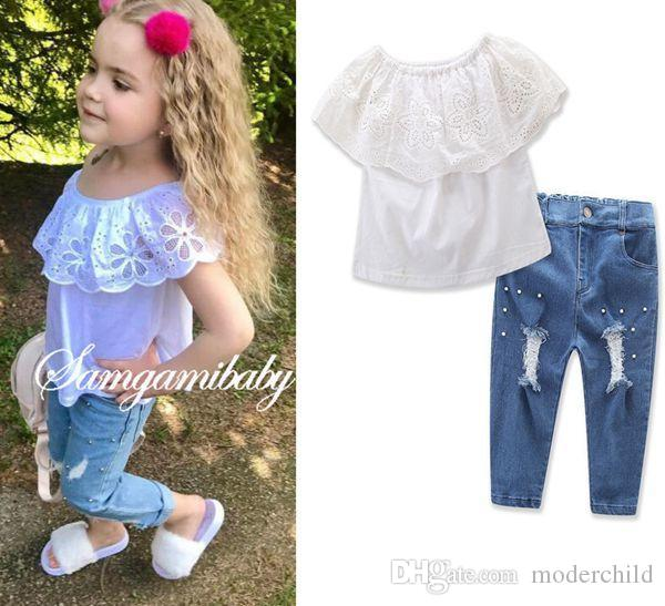 f2105ad7463a53 2019 Summer Baby Girl Clothes Kids Boutique Clothing Sets Girls Off  Shoulder Lace Tops Tshirt Ripped Jeans Bead Pants Childrens Outfits  Wholesale From ...