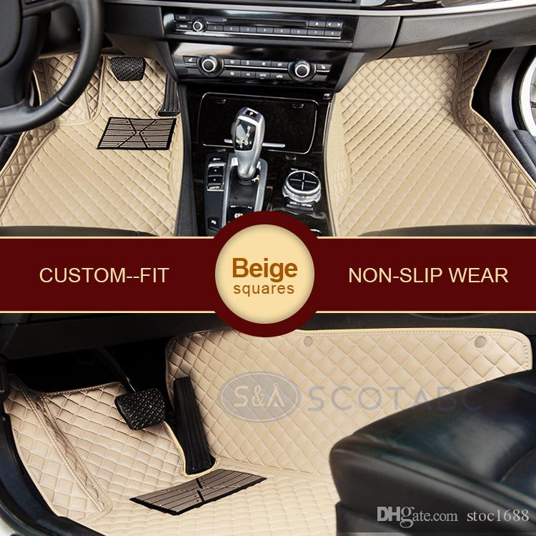 SCOTABC Custom-Fit Front & Rear Car Foot Pads Leather Car Floor Mats for Fiat Bravo All Weather Waterproof 3D Anti-slip Carpet