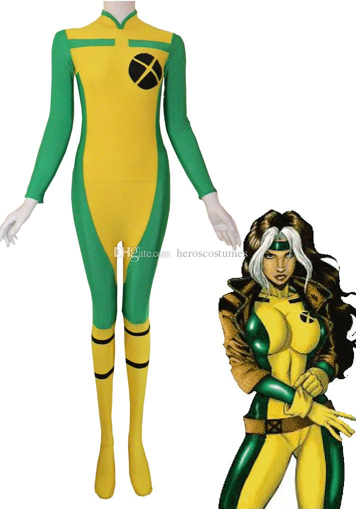 Yellow Green Rogue Spandex Superhero Costume Woman Costume For