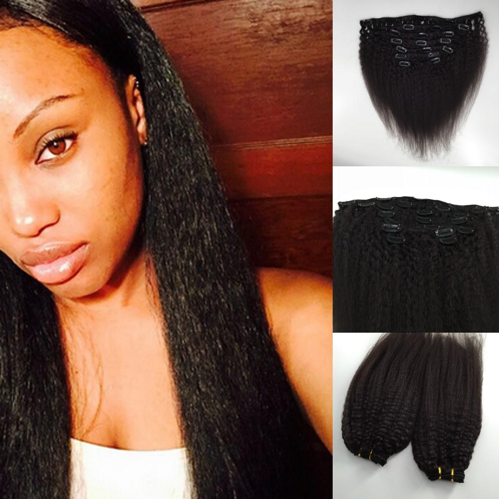 1b Italian Yaki Clip In Hair Extension Kinky Straight African