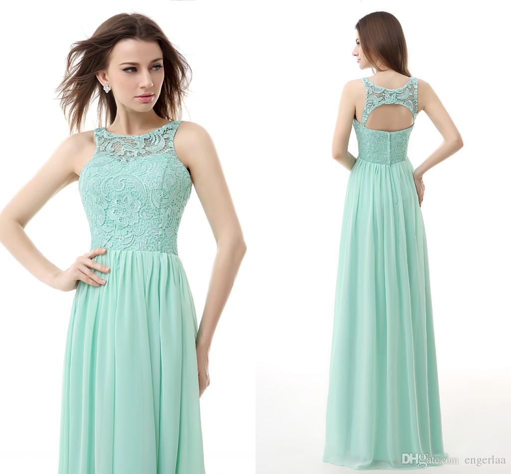 Mint Green Lace And Chiffon Evening Dresses Cheap Key Hole Backless ...