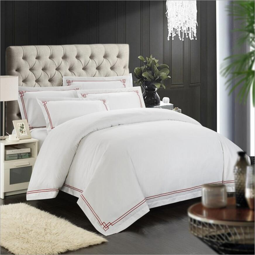 100% Cotton Duvet Cover Bed Sheets Hotel Bedding Set White Embroidered  Bedclothes Bed Linen Bed Set Queen King Size Black Duvet Cover King  Comforter From ...