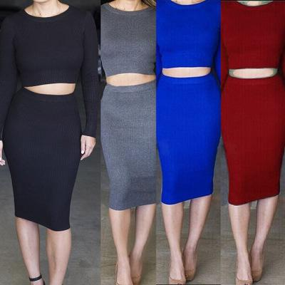 Hot Sexy Night Club Party Dress Two Piece Women Bodycon Dress Winter Crew Neck Knitted Long Sleeves Slim Fit Knee Length Lady Dress