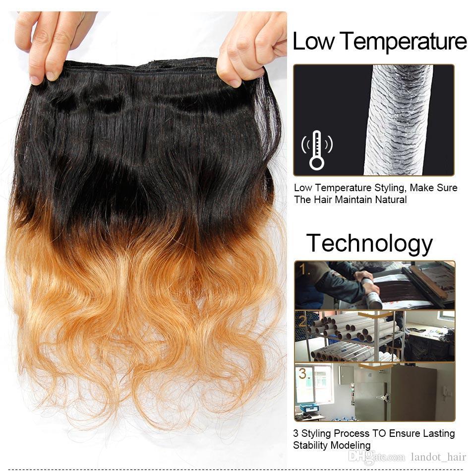 Ombre Brésilienne Extensions de Cheveux Humains Deux Tons Couleur 1B / 27 # Blonde 7A Ombre Péruvienne Malaisienne Indien Cambodgien Vague de Corps Cheveux Weave Bundles
