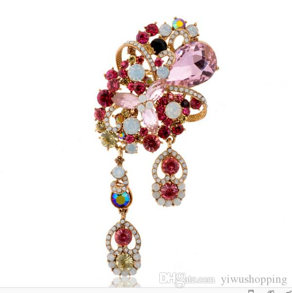 5 Inch Extra Large Crystal Brooch Water drop Crystal Diamante Rhinestone Pins Gold Plating Wedding Accessory