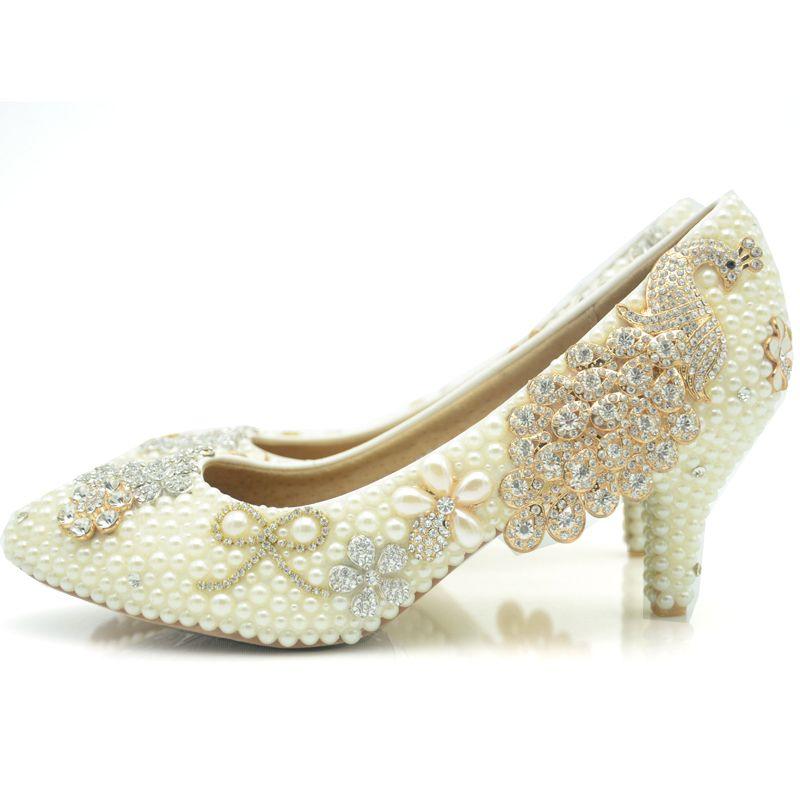 2016 Ivory Wedding Shoes Pearl Middle Heel Bridal Party Prom Shoes  Rhinestone Phoenix Platforms Beads Mother of The Bride Shoes Bridal Wedding  Shoes Round ... b7cd8ec243c2