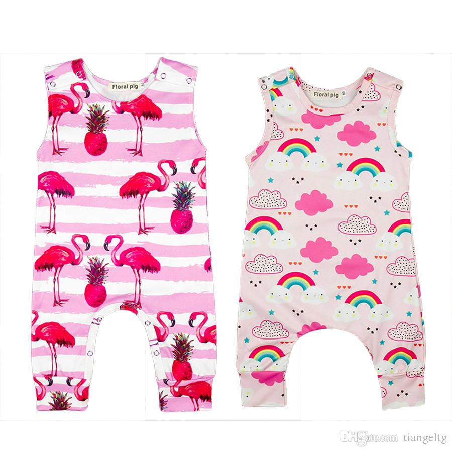 4d2e3b072 2019 Sleeveless Rompers Rainbow Flamingo Pineapple O Neck Summer ...