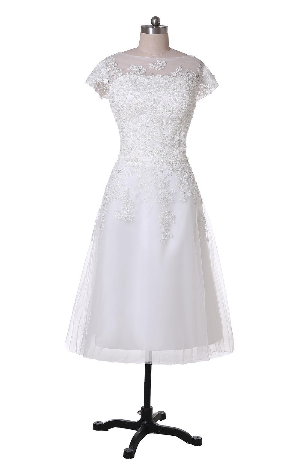 New Simple Tea Length Wedding Dresses Cap Sleeve Jewel Neck Lace Tulle A-Line Short Bridal Gowns Zipper Back Custom Made W1008