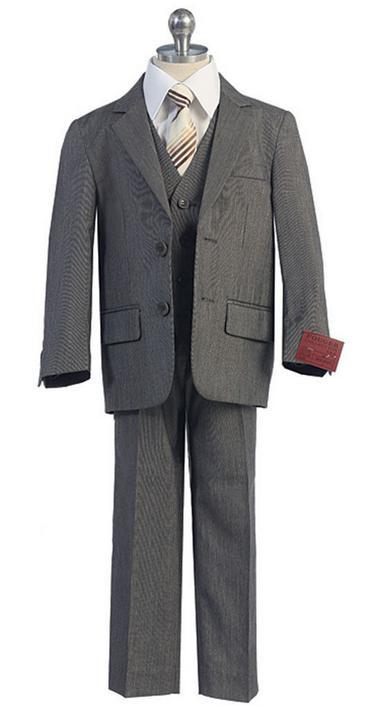 new boy boy suit lapel single row two button gray wedding flower children's wear three-piece suit (jacket + pants + jacket)