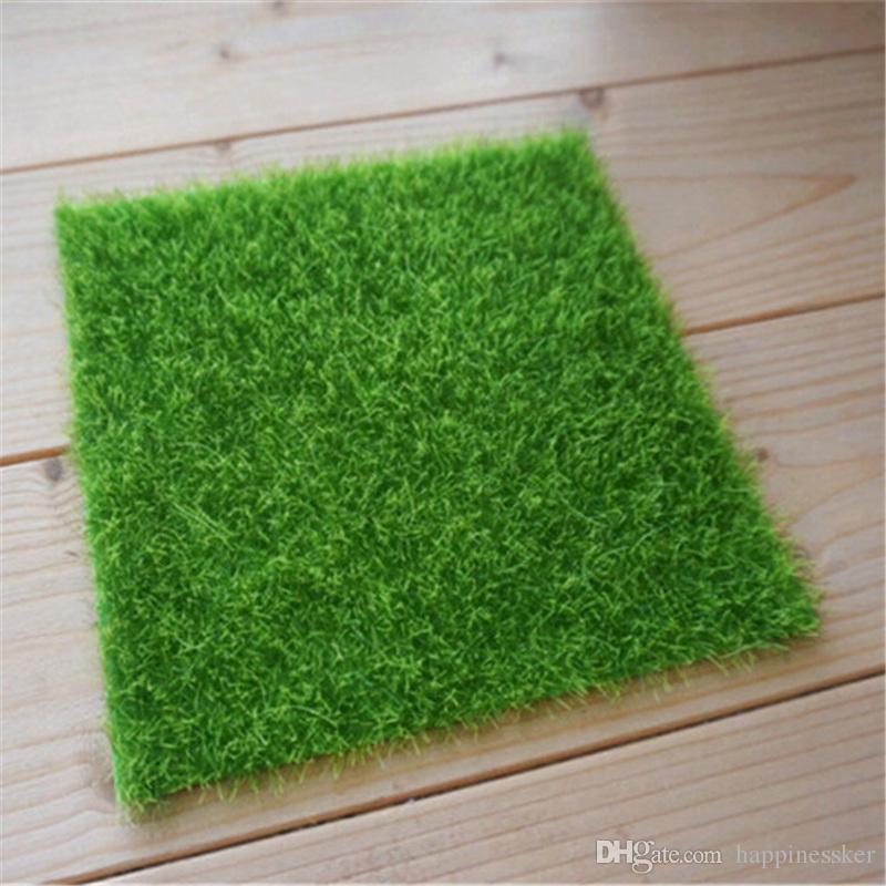 Artificial Fake Moss Decorative Lawn Micro Landscape Decoration DIY Mini Fairy Garden Simulation Plants Turf Green Grass 15x15cm Small Size
