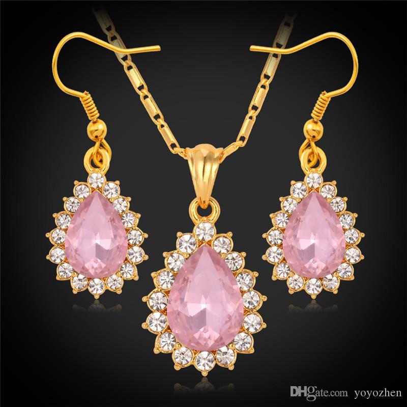 Regalo de Navidad Nuevos artículos SWA Rhinestone Ruby Crystal Colgante Pendientes Joyas Conjuntos de joyería 18K Real Chapado en oro joyería para mujeres S745