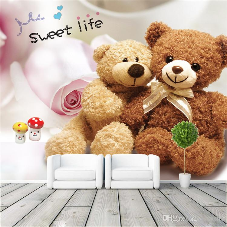 Cute Style Photo Wallpaper Lovely Teddy Bear Large View Art Wall ...