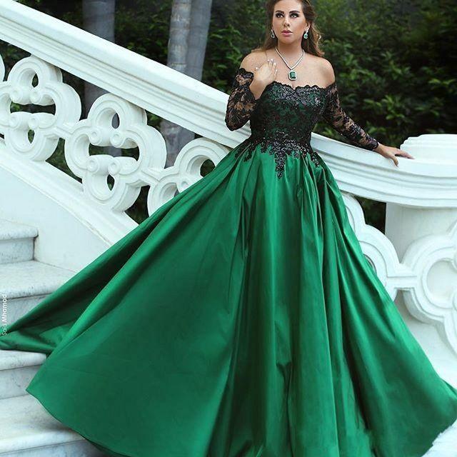 Off Shoulder Dark Green Prom Dresses with Long Sleeves 2018 Black ...