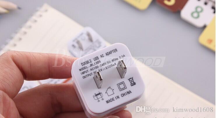 Metal Dual USB Wall US Plug 2.1A Adaptador de corriente alterna Cargador de pared 2 puertos para Samsung Galaxy Note LG Tablet ipad