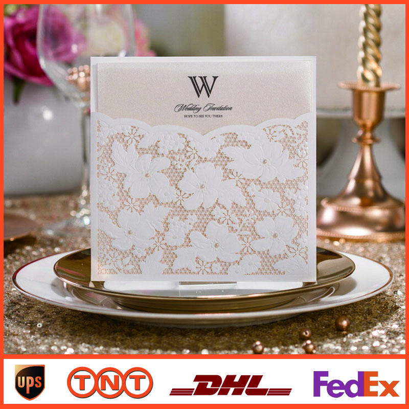 White Lace Wedding Invitation Card Wedding Invitation Pocket ...