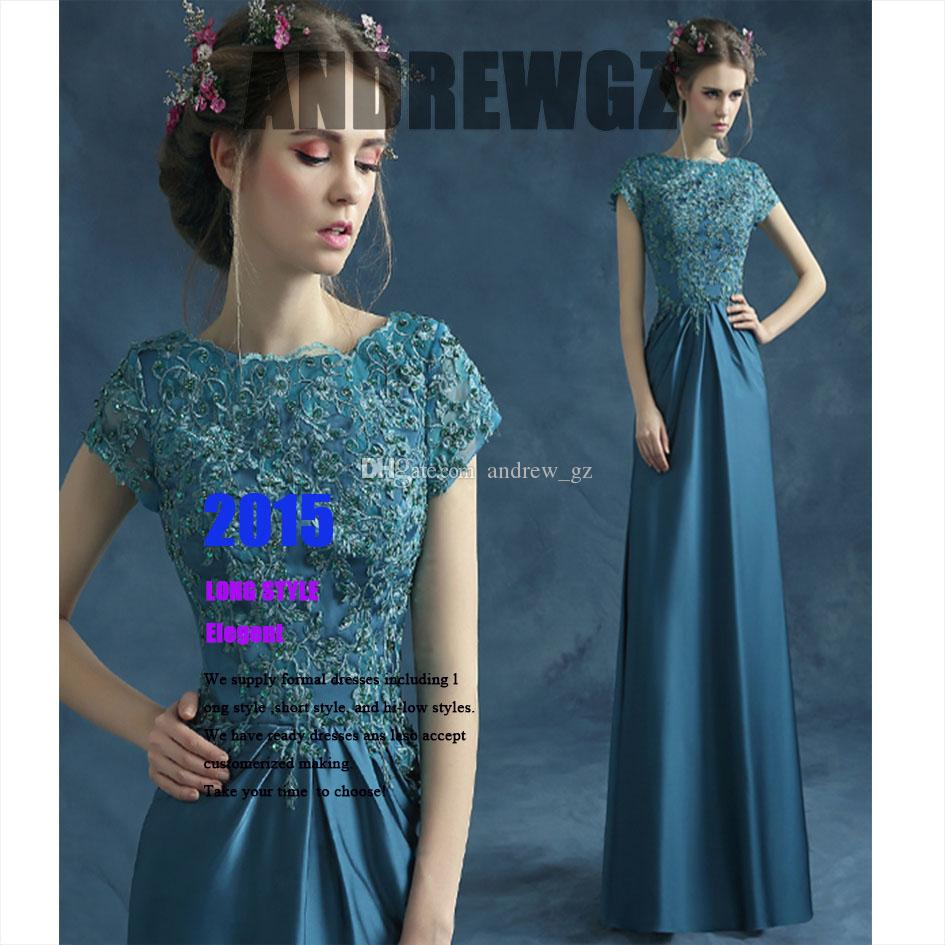 2015 Ready To Ship Floor Length Blue A Line Lace Pleating Elegant ...