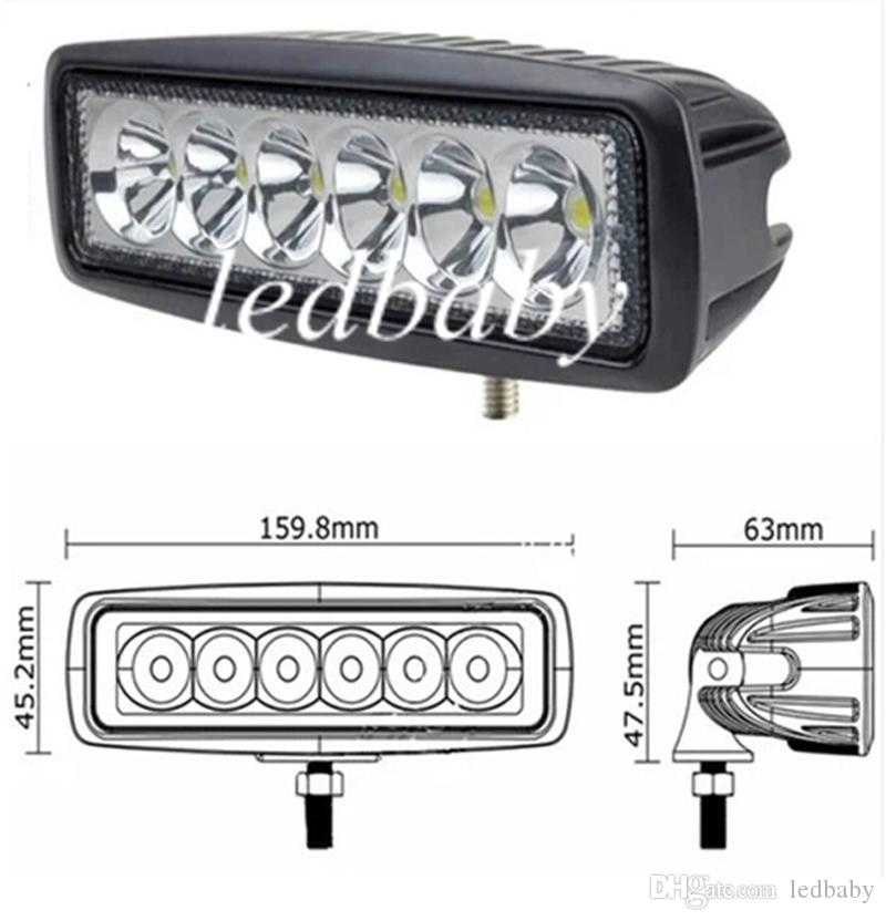 18W CREE LED Work Light Bar JEEP Spot Fendinebbia Fendinebbia 12V 24V 6LED * 3W 1600lm IP67 OffRoad Moto Truck Driving