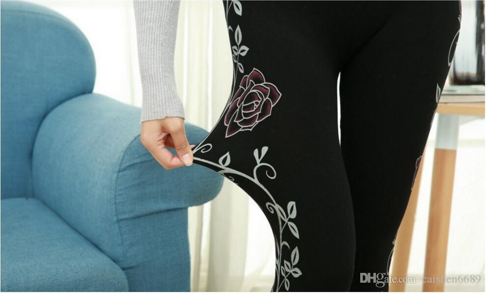 2018 primavera nova moda borda lateral impressão Leggings mulheres Alta Resiliência lápis calças de Cintura Alta sem costura impressão Render calças Calças Justas