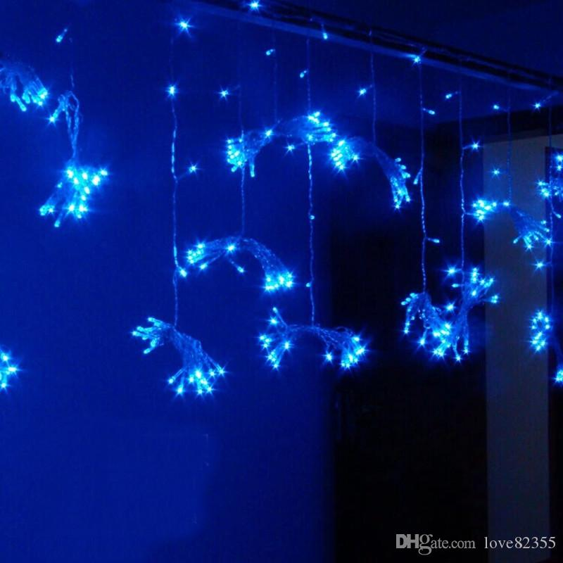 110V-240V UE AU EE. UU. Reino Unido Enchufe 3m * 2.5m 240LEDs luces intermitentes carril LED Cadena de cortina de luz luces de festival de jardín de Navidad